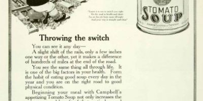 1921 Ad Campbell's Soup Tomato Railroad Tracks Switch Healthy Can Joseph Food - Original Print Ad