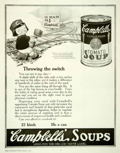 1921 ad campbell's soup tomato railroad tracks switch