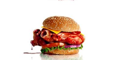 """Santa Clarita Diet (TV Series 2017 - ) 8 inch by 10 inch PHOTOGRAPH """"Eat Your Heart Out."""" Burger Title Poster kn"""